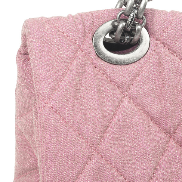 Chanel Rose Denim Quilted  XL Flap Bag