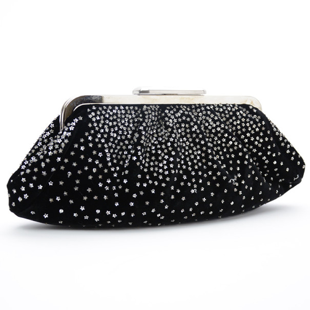 Fendi Velvet Star-Studded Evening Clutch