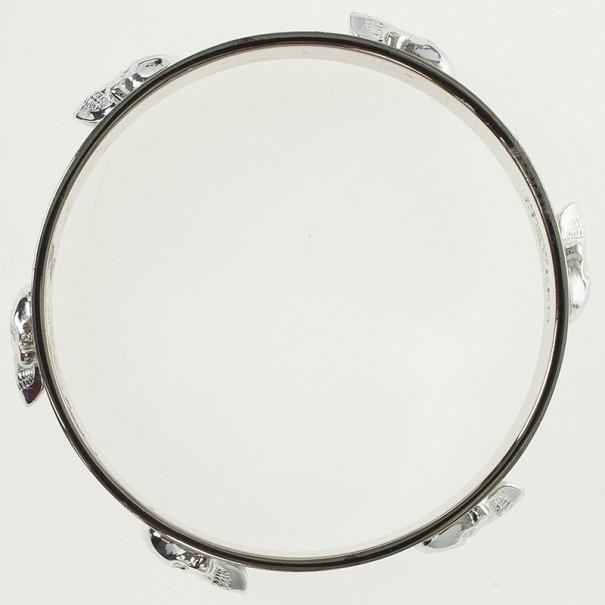 Alexander McQueen Large 3D Skull White Enamel Bracelet