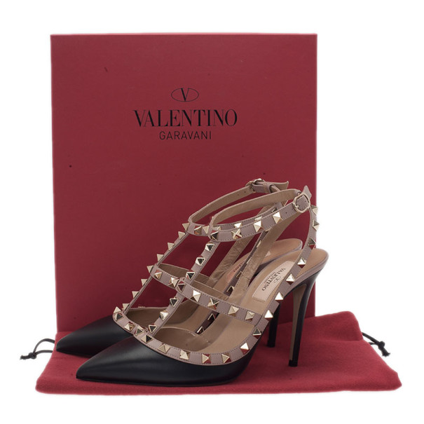 Valentino Beige and Black Leather Rockstud Sandals Size 37.5