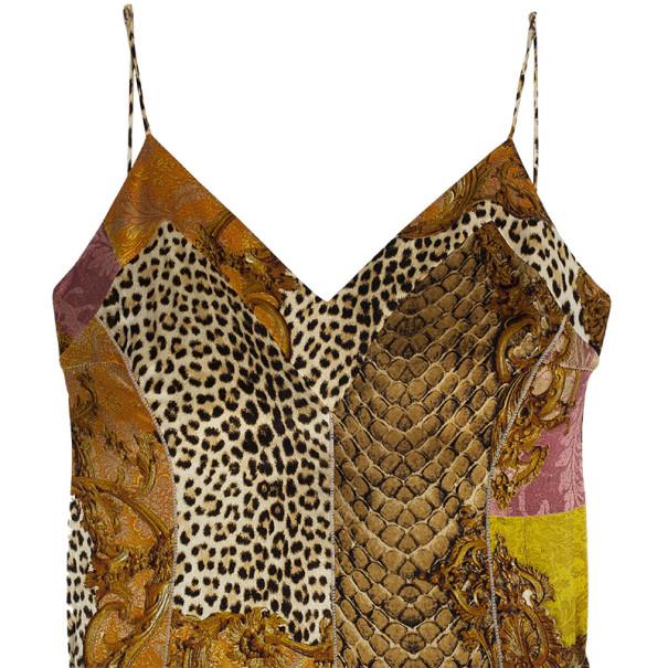 Roberto Cavalli Printed Silk Maxi Cocktail Dress XL