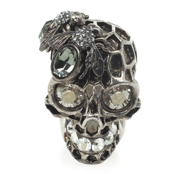 Alexander McQueen Honeycomb Skull Cocktail Ring Size 53