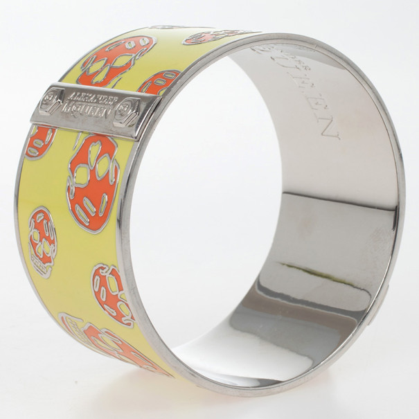 Alexander McQueen Skull Printed Yellow and Orange Resin Large Bangle