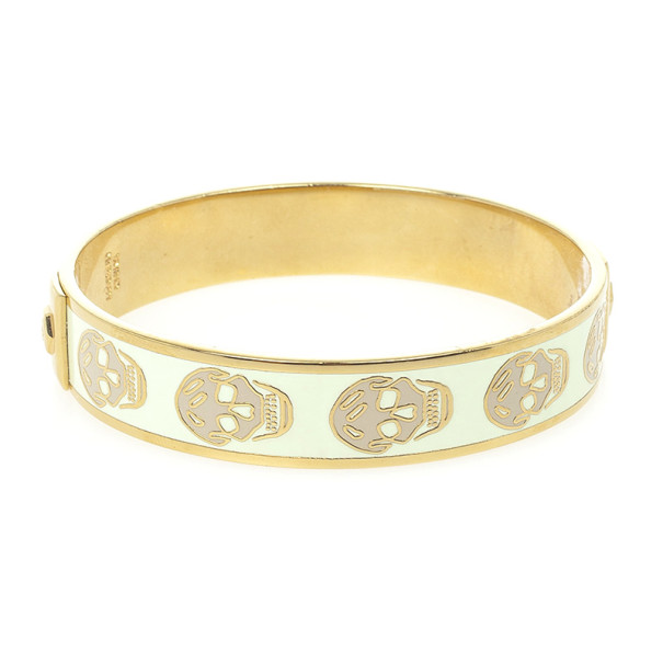 Alexander McQueen Skull Printed Light Yellow Resin Small Bangle