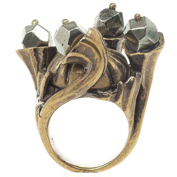 Yves Saint Laurent Shadow Crown Ring Gold Metal Size 49