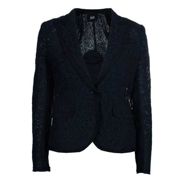 D and G Black Lace Single Breasted Blazer S