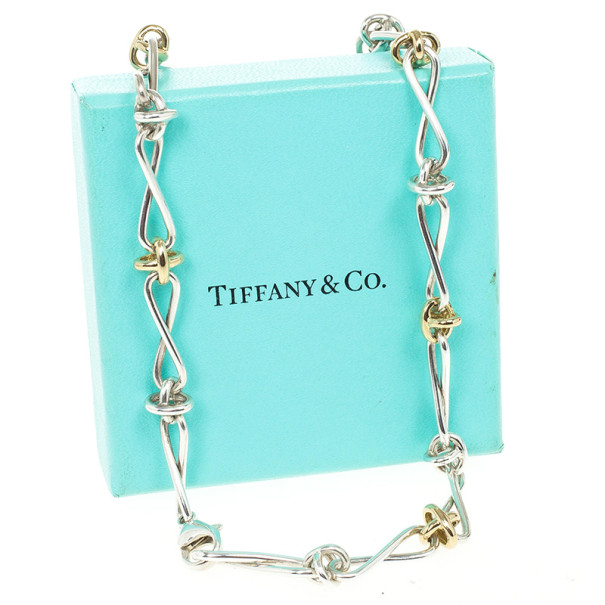 Tiffany & Co. Paloma Picasso Twist Silver and 18 K Yellow Gold Necklace