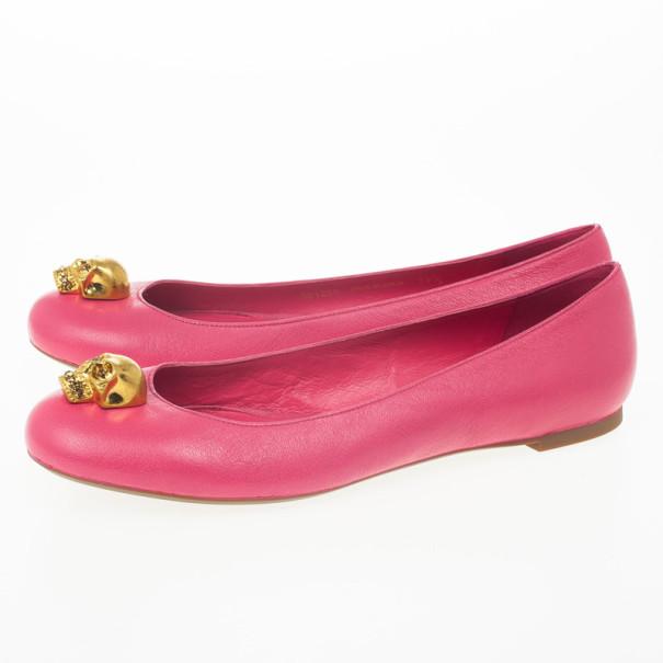 Alexander McQueen Pink Skull City Ballet Flats Size 39.5