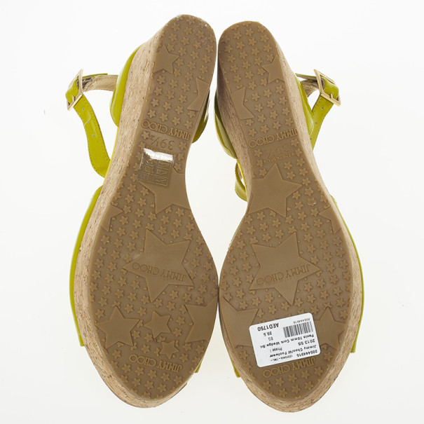 Jimmy Choo Lime Green Patent Pania Cork Wedges Sandals Size 39.5