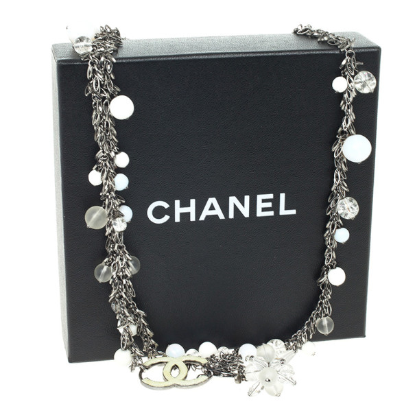 Chanel White Beaded Necklace / Belt