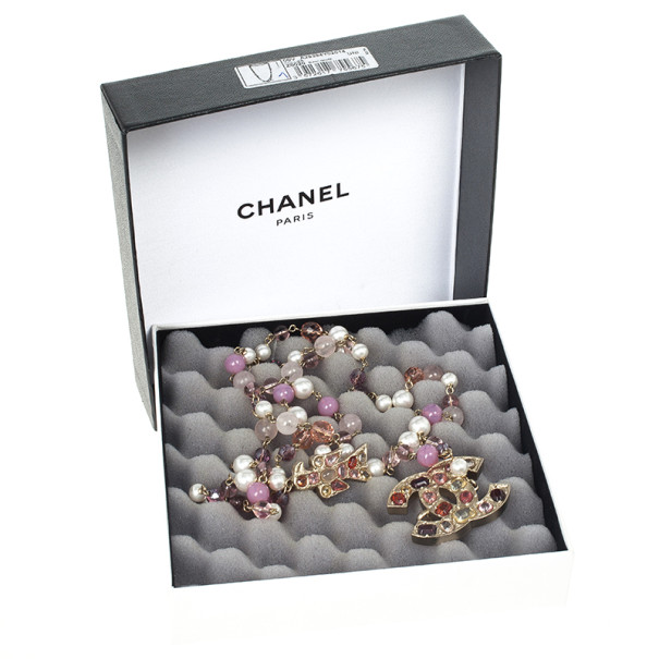 Chanel Multicolor Faux Pearl Beads Gold Tone Chain Necklace/Belt