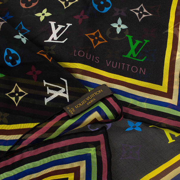 Louis Vuitton Black Monogram Multicolore Silk Square Scarf