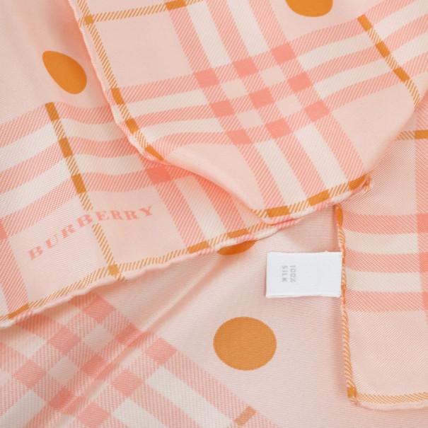Burberry Peach Polka Dot & Novacheck Print Square Scarf