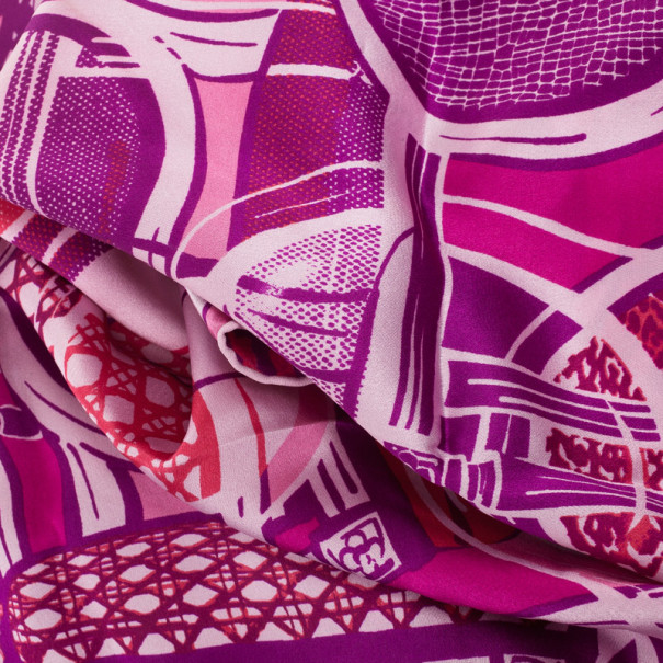 Christian Dior Cannage & Floral Print Silk Scarf