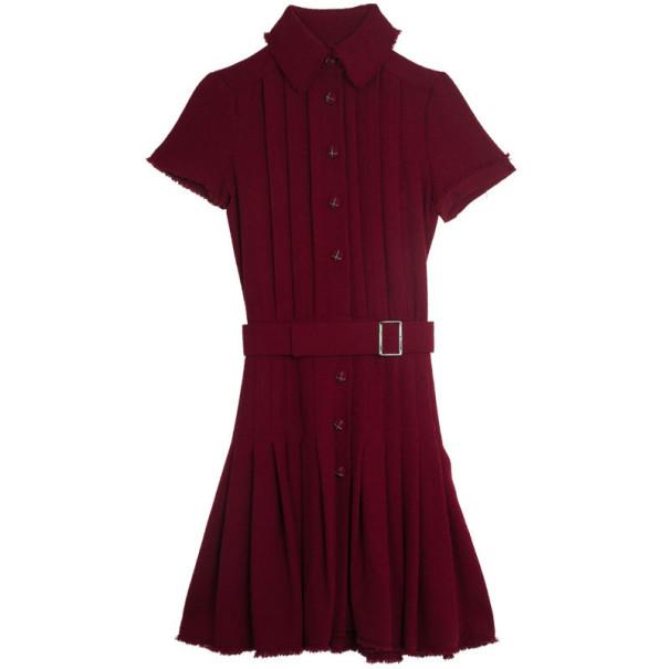 Chanel Oxblood Pleated Tweed Dress S
