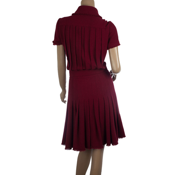 Chanel Oxblood Pleated Tweed Dress S