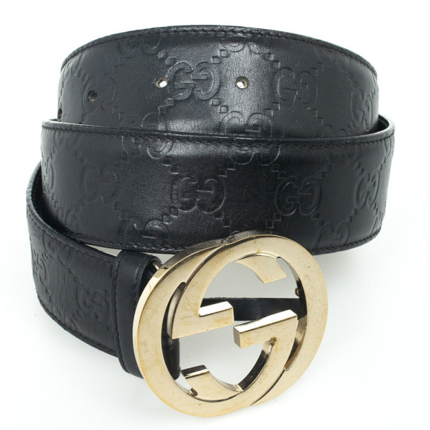 Well known Gucci Guccissima Black Leather Interlocking G Buckle Belt - Buy  VS92