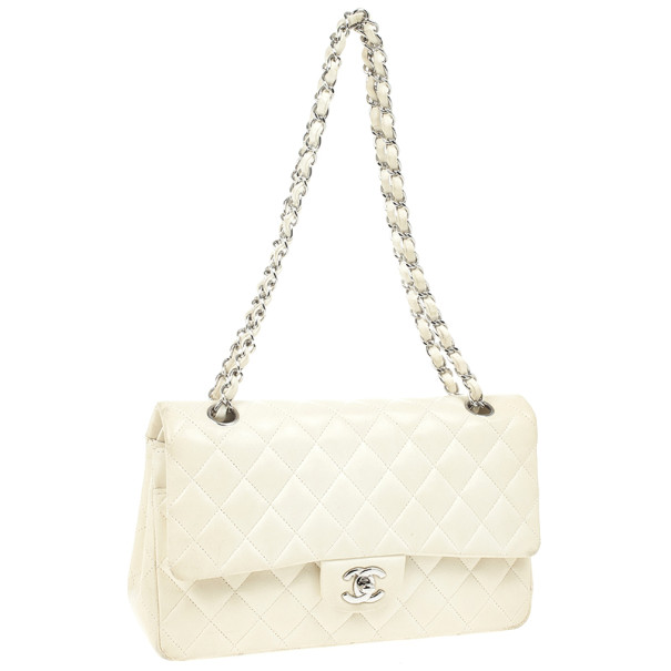 Chanel White Faded Lambskin Medium Flap Bag