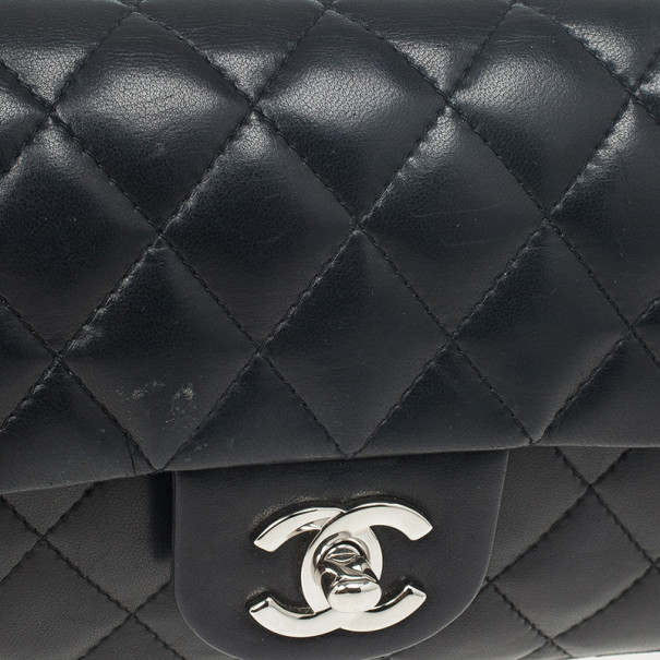 Chanel Black Quilted Lambskin East West Flap Bag