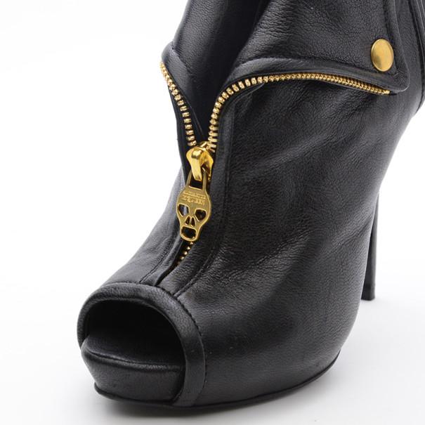 Alexander McQueen Faithful Peep-Toe Ankle Boots Size 36.5