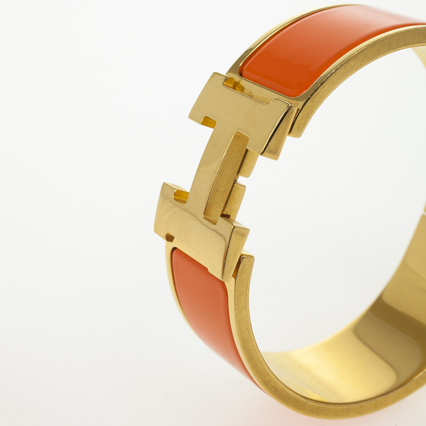 Hermes Clic-Clac H Orange Enamel Gold Plated Bracelet