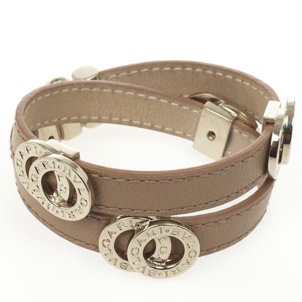 Bvlgari Leather Double Coiled Bracelet