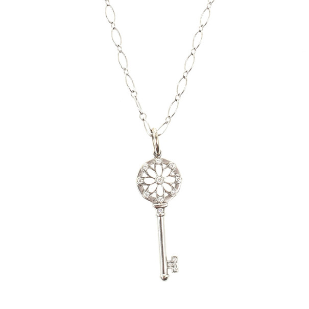 Tiffany co floral key pendant 18k white gold chain buy sell floral key pendant 18k white gold chain nextprev prevnext aloadofball Image collections