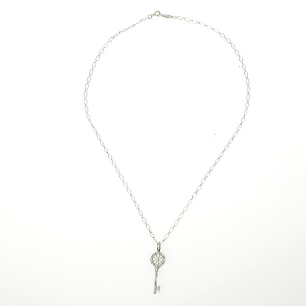 Tiffany & Co. Floral Key Pendant & 18K White Gold Chain