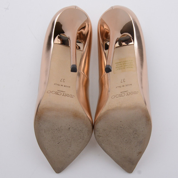 Jimmy Choo Gold Agnes Mirror Leather Pointed Toe Pumps Size 37