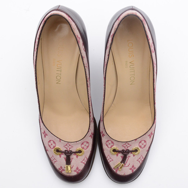 Louis Vuitton Pink Mini Lin Monogram Pumps Size 36.5