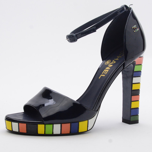 Chanel Teal Pearlized Patent Calf Sandals With Multicolor Laquered Platform Heels Size 37