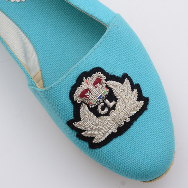 Christian Louboutin Blue Gala Embroidered Crest Espadrille Loafers Size 36