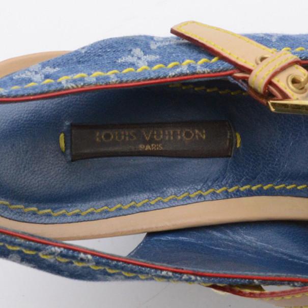 Louis Vuitton Denim Monogram Buckle Wedges Size 37