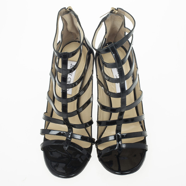 Jimmy Choo Black Patent Estoria Cage Sandals Size 38.5