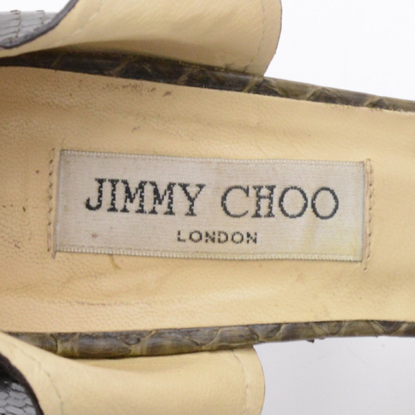 Jimmy Choo Brown Python Quaker Buckle Sandals Size 38.5