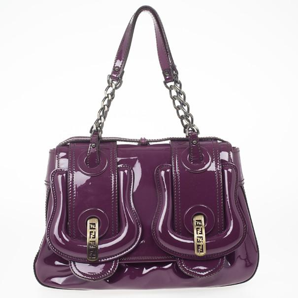 Fendi Purple Patent Leather B Bag
