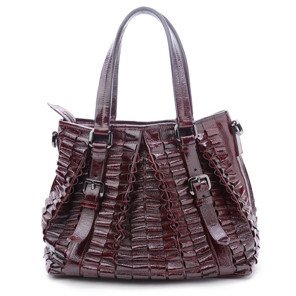 Burberry Burgundy Leather Cartridge Pleat Tote