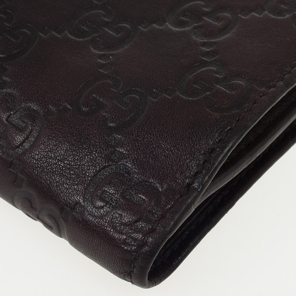 Gucci Guccissima Brown Leather D Ring Compact Wallet