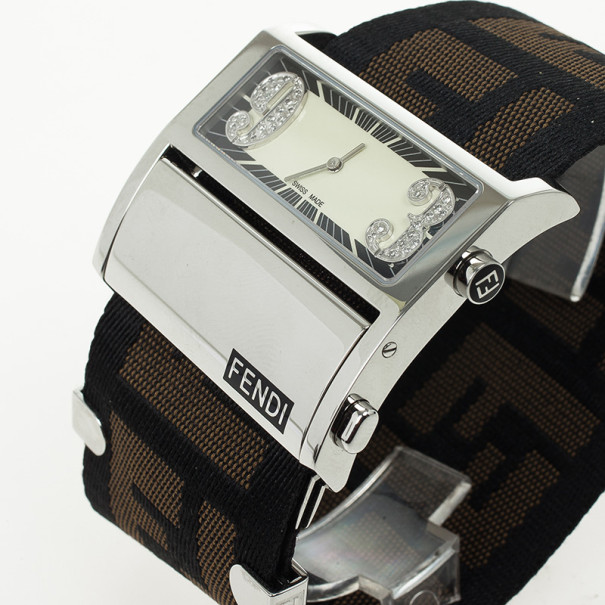 Fendi Zip Code Stainless Steel Diamond Quartz Womens Wristwatch 40MM
