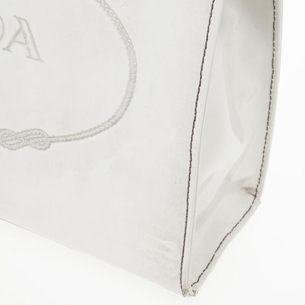 Prada Quarzo Spazzolato Print Show Bag