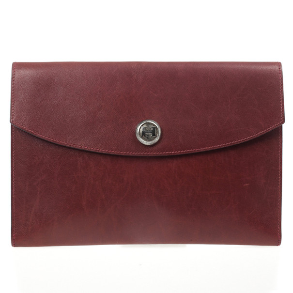 Hermes Vintage Burgundy Box Calf Leather Rio Clutch