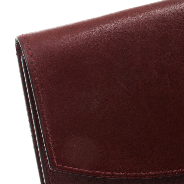 Hermes Vintage Burgundy Box Calf Leather Rio Clutch