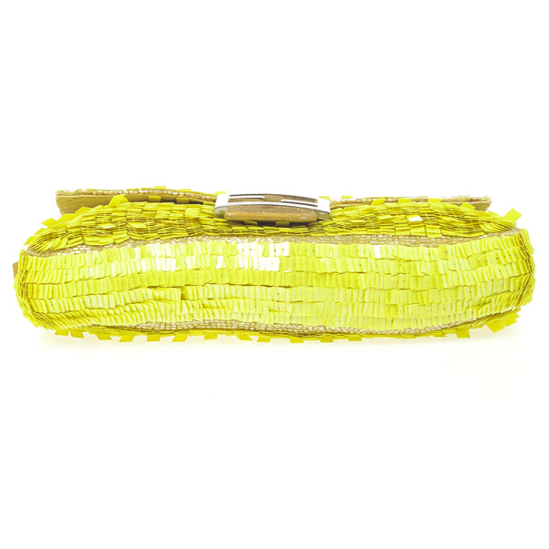 Fendi Yellow Sequin and Snakeskin Baguette Bag