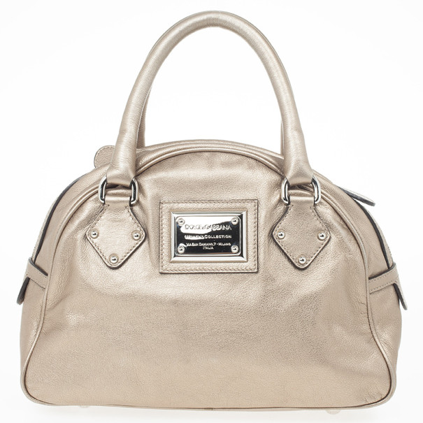 Dolce and Gabbana Metallic 'Miss Biz' Dome Satchel