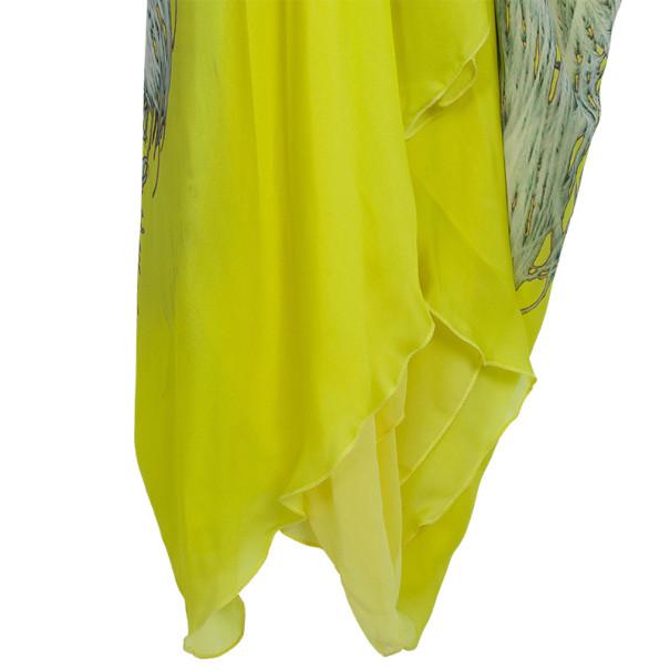 Roberto Cavalli Yellow Silk-chiffon Printed Kaftan Dress S