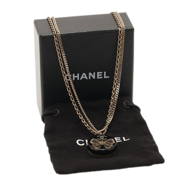 Chanel Butterfly Black Gold Tone Pendant