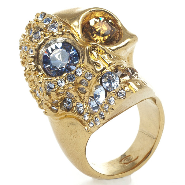 Alexander McQueen Golden Crystal Two-Faced Skull Cocktail Ring Size 55