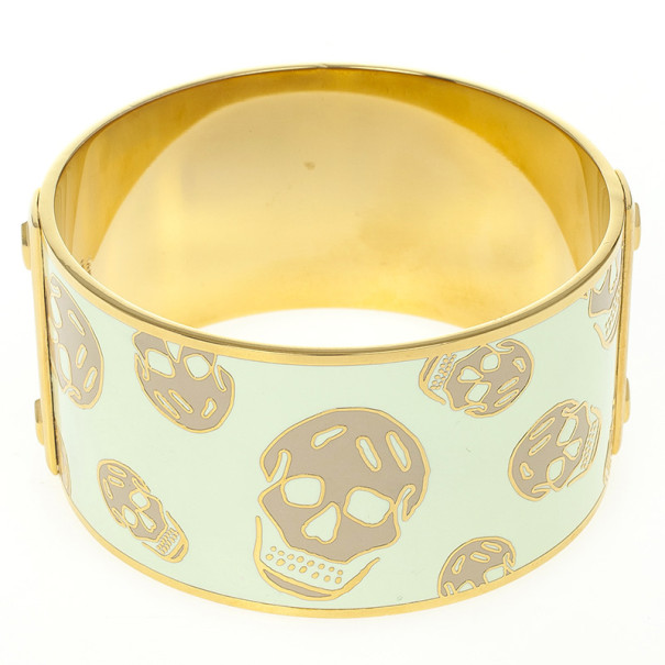 Alexander McQueen Skull Printed Light Yellow Resin Large Bangle
