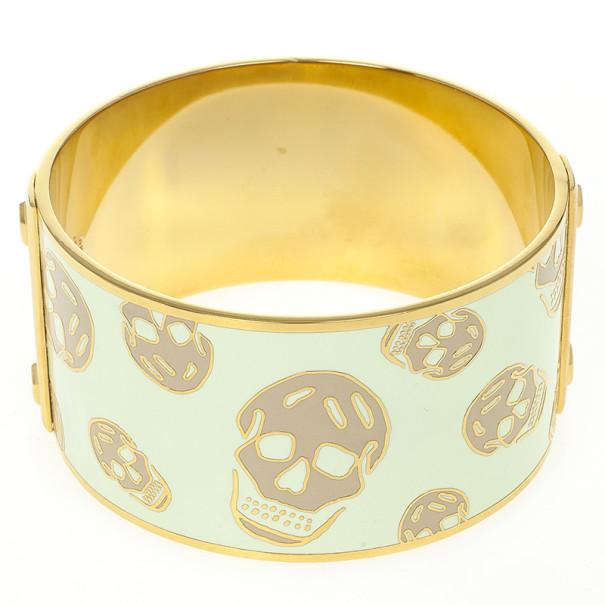 Alexander McQueen Skull Printed Light Yellow Resin Large Bangle