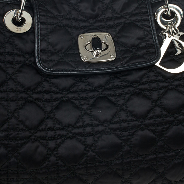 Dior Black Quilted Satin Cannage Charming Lock Tote
